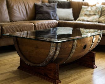 The Bordeaux Coffee Table, handcrafted from reclaimed napa valley wine barrels.
