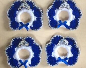DOLPHIN  hand crochet set of 4 napkin rings.