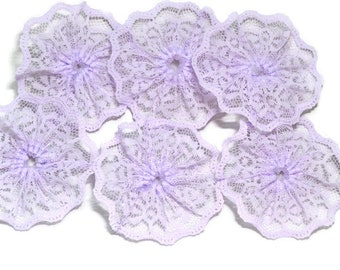 2 75 inch Pale Lavender lace rosettes - 6 lace flowers - Lace embellishments - Scrapbook flowers - Headband supply - Lace twirls - Six piece