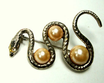 Silver Snake Pin, Undulating Serpent Brooch, Pearls at The Curves, Crawling for That Apple, Original Sin Reptile, Scourge, Vintage 1980s