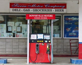 Retro Gas Station Pump in Downieville, California USA