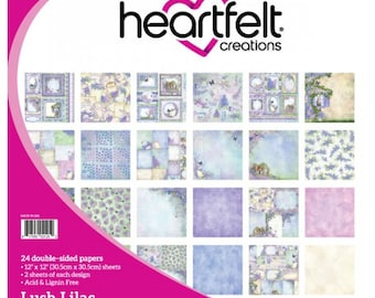 Heartfelt Creations Lush Lilac Paper Pad - Lush Lilac Paper - 12x12 Cardstock - Card Stock Paper - Lush Lilac Paper Collection - 9-294