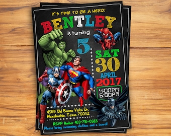 Superhero Invitation / Superhero Avenger Birthday Invitation / Avenger Invitation / Boy Invitation / Birthday Invitation / Invitation