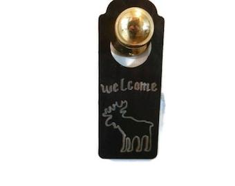 Welcome Doorknob Hanger with Moose