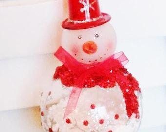 Round Glass Snowman Ornament
