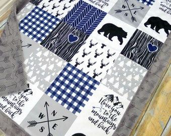 Mountains Baby Blanket - Faux Patchwork Quilt - Mountain Blanket - Bear Baby Blanket - Minky Baby Blanket - Baby Blankets - Woodland Blanket