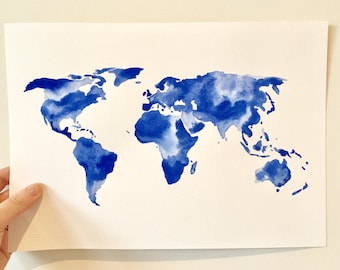 Blue world map etsy uk watercolorwatercolour world map original a4 blue gumiabroncs Image collections