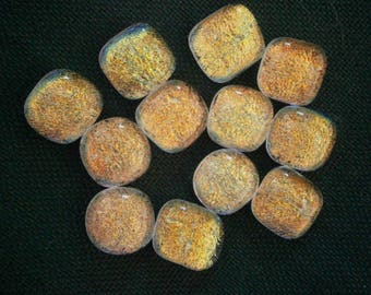 Dichroic Glass Cabochons, 12 Oranges Dichroic Glass Cabs, PMC Glass Cabochons by Willow Glass