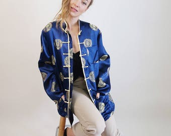Blue SILK Asian Robe/Jacket/House Coat/Embroidered Asian Jacket