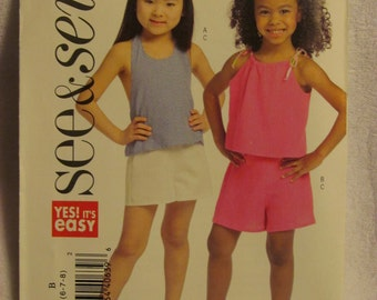 Butterick B4766 UNCUT Sewing Pattern / Children's-Girls Top (halter & tank) and Shorts pattern / Sizes 6, 7, 8