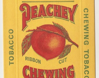 1920's PEACHY Ribbon cut CHEWING TOBACCO paper bag From Scotten, Dillon Co. Detroit, Mich.