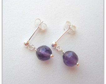 Little Girls Earrings Flower Girl Jewelry February Birthstone Earrings with Amethyst and Sterling Silver E051