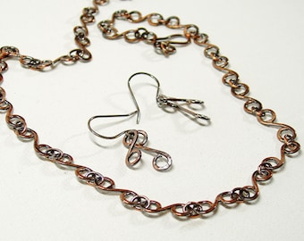 S Link Necklace and Earrings Set in Oxidised Copper, Hand Forged Artisan Jewellery