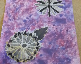 Mixed Media Picture of Grey Scale Flowers on Purple Background.