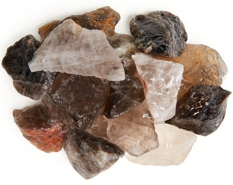 Digging Dolls: 1 lb Smokey Quartz Rough Rocks from Brazil - Asst Shades of Brown and Tan