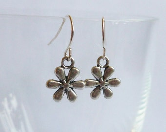 Flower Earrings Silver Coloured Flower Dangles