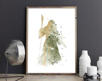 Gandalf, Lord Of The Rings, Hobbit, Gandalf Watercolor poster, Lotr Poster, Tolkien Watercolor Art, Nursery Print, Nursery Wall Art,