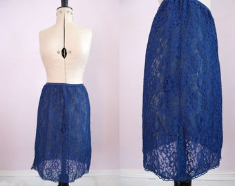 Vintage 1960s blue lace skirt slip - 1960s Half skirt slip - 60s Vintage lace half slip - 60s lace skirt slip - Half slip - 60s lace slip