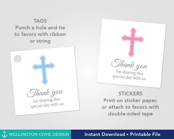 Printable Baptism Favor Tags Christening Favor Stickers