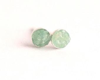 4mm Raw Amazonite Earrings. Amazonite Earrings. Amazonite Studs. Amazonite Stud Earrings. Studs. Stud Earrings. Amazonite gemstone.