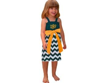 Green + Bright Gold Chevron Dress- Girls
