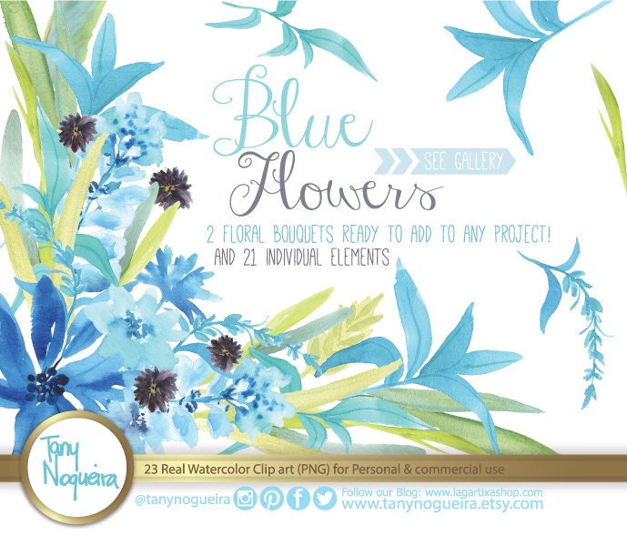 Blue Flowers Watercolor Floral Wedding Elements Clipart PNG Frames Spring Rustic Arrangement Posies Bouquet For Invitations