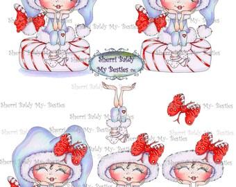 Instant Download Christmas Peppermint Bestie 3D Decoupage kit Besties Big Head Dolls Digi By Sherri Baldy