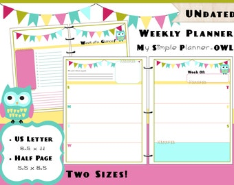 Printable Weekly Calendar Planner PDF Refills - US Letter & Half Page Size - Simple Life Owl