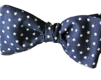 Navy Stars Bow Tie Mens Patriotic Nautical Cotton Pretied Clip-On or Adjustable Bowtie Gift for Him Veterans' Day