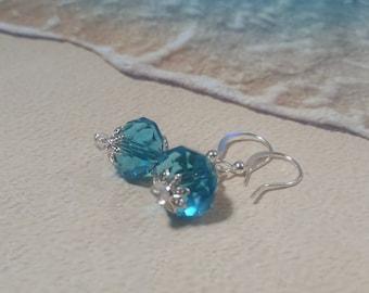 Aqua crystal earrings, faceted crystal rondelles earrings silver earrings