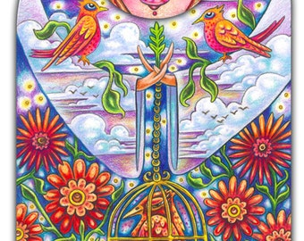 """Avril May Aviva - a whimsical 8 x 10"""" ART PRINT of a beautiful woman holding cardinals & bright red birds with red flowers and a sunset"""