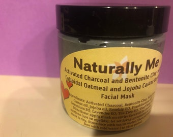 Activated Charcoal & Bentonite Clay with Colloidal Oatmeal and Jojoba Castor Beads Facial Mask 2 oz and 4 oz
