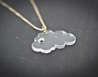 heart clouds necklace - clear - fluffy cloud necklace with heart nature lover sky jewelry cloud charm cloud love