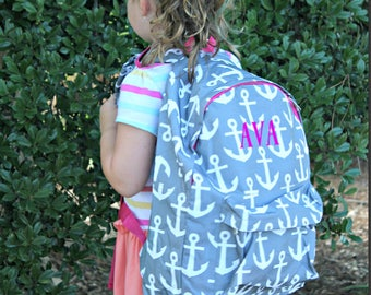 Monogrammed Anchor Print Back Pack • Back to School • Adult Size
