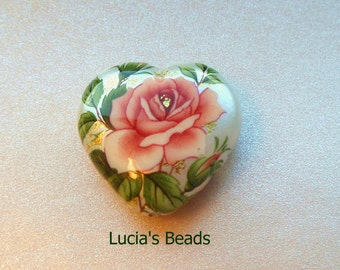 Wholesale Lovely  Pink Rose on Pearl Japanese Tensha Heart Bead 23 MM (4)