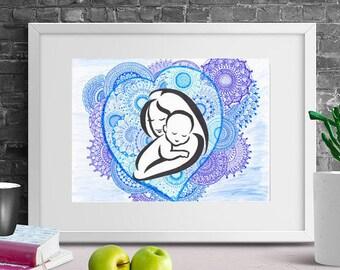 Mothers day gift, Mom and baby mandala inspired DIGITAL art print home decor