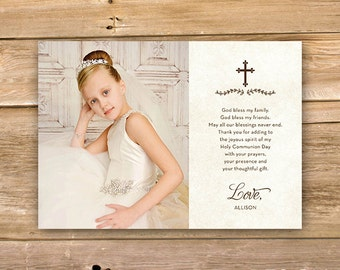 Communion Thank you card, First Holy Communion thank you, religious, cross, thank you