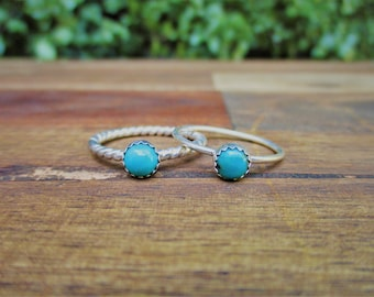 Turquoise Stack Ring / Sterling Silver Ring / Little Turquoise Stack Ring / Small Turquoise Stacking Ring / Silver Turquoise Stackable Ring