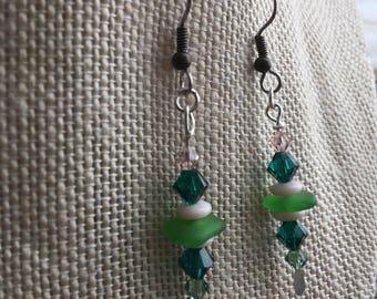 Sterling Silver Frosted Green Sea Glass Dangle Earrings