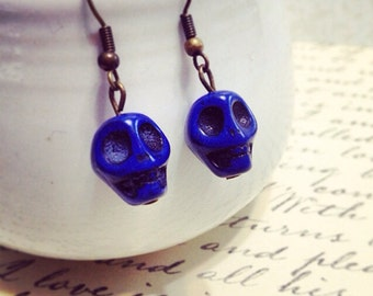 Blue Skull Dangle Earrings. Under 10 Gifts. Gothic. Resin. Brass Vintage Style Ear Hooks. Unique Oddities Unusual.