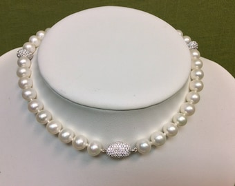 "21.5"" Sterling Silver and Zircon (CZ)  8-8.5mm White Freshwater Cultured Pearl Necklace"