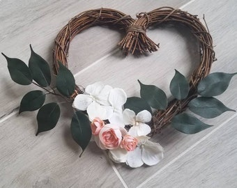 Heart-Shaped Natural Vine Wreath Rustic Decor Wedding Decor White Hydrangea Blush Pink Flowers