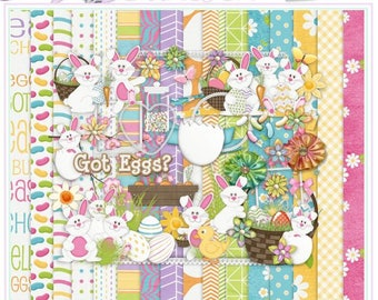Digital Scrapbook Kit, Easter Pattern Paper, Spring Scrapbook Embellishments, Scrapbook Stamps, Scrapbook Supplies, Scrapbook Alpha, Holiday
