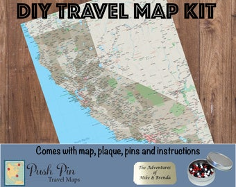 """DIY California Earth Toned Push Pin Travel Map Kit with 100 Pins - 24"""" x 36"""" - California State Map - Pin Your Travels"""