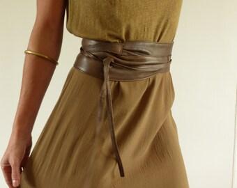 Wide obi women tie, soft light brown leather belt, secret pocket
