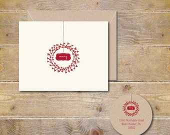 Rustic Christmas Cards, Christmas Cards, Christmas Wreath,  Winter Berry, Handmade, Holiday Cards, Christmas Card Set