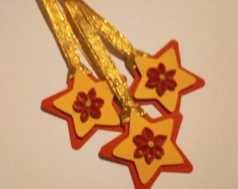 3 Hand Quilled Star Shaped Gift Tags