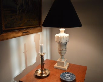 Carved Italian Marble Art Deco table lamp.