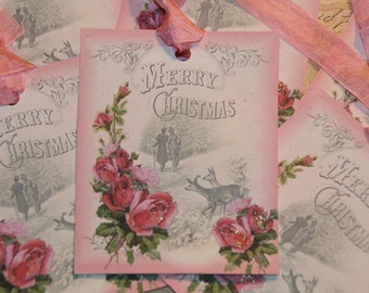 Merry Christmas Tags  Pink Christmas Holiday Tags Shabby Christmas