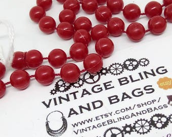 92cm vintage 1980s, necklace, long necklace, long bead necklace, vintage red necklace, vintage necklace, red necklace, vintage bead necklace